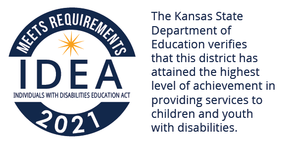 KSDE verifies USD 497 has attained the highest level of achievement in providing services to children with disabilities.