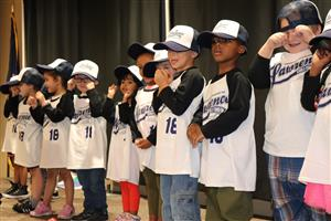 Pre-K students provided entertainment by singing Take Me Out to the Ballgame