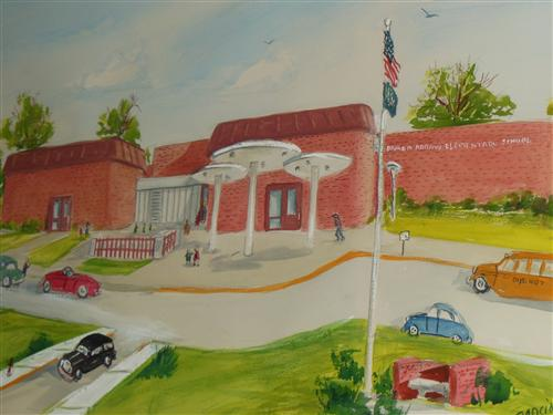 Gift from the J. Robert Lowther family to Broken Arrow Elementary. Water color by Garcia of front view of Broken Arrow.