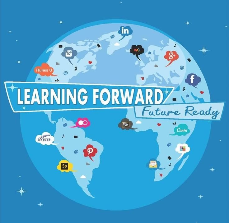 blue globe with social media logos and title Learning Forward, Future Ready