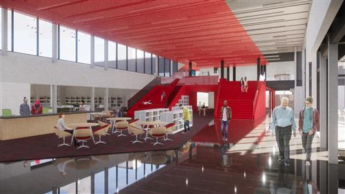 rendering of open media commons area