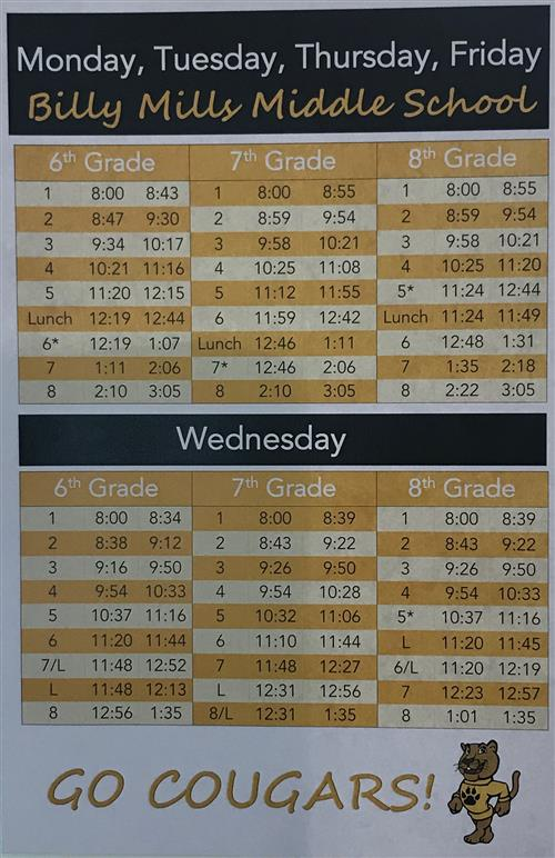 BMMS Daily Schedule