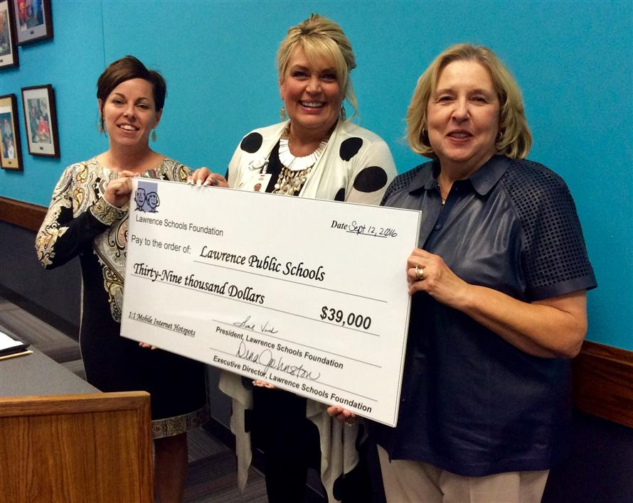 Lawrence Schools Foundation presents $39,000 check to district