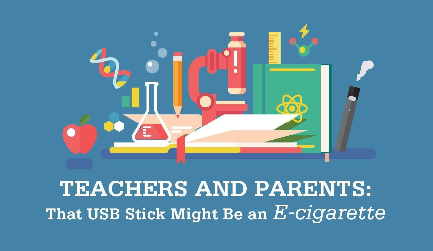 educational symbols and an e-cigarette