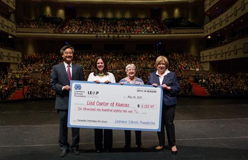 LSF presented a check to the Lied Center