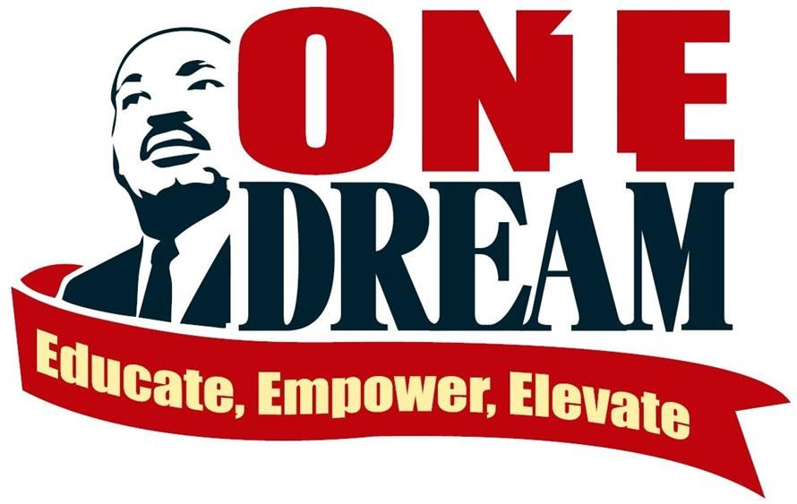 One Dream logo with MLK, educate, empower, elevate